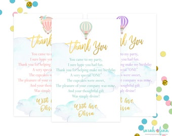 Hot Air Balloon Thank You Cards, Birthday Thank You, Up up and Away, Printable First Birthday, Blue Pink Gold Lavender, Watercolor, Balloons