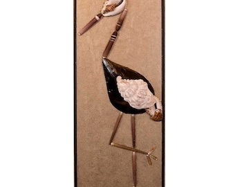 Sea shell mosaic  Stork Wall Art 8.5 x 21 inches
