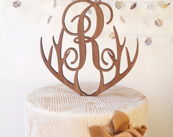 Monogram cake topper, personalized wedding cake topper, rustic wooden heart cake topper, single monogram letter cake topper, cake decoration