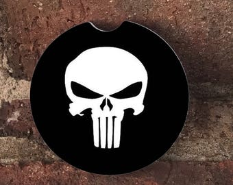Custom Punisher Sandstone Auto Car Cup Holder Coasters (set of 2), Absorbent Sandstone Personalized Car Coasters (set of 2)