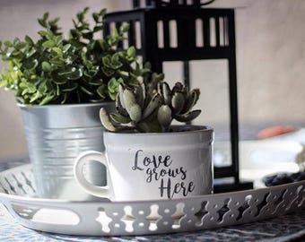 Love grows Here//Coffee Mug//Plant Holder