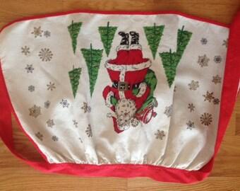Vintage Linen Christmas Apron