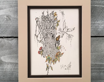 Wall Art, Original Hand Sketched Drawing, Whimsical Tree Pen and Ink Illustration, Metaphorical Art Originals, Item #499680870