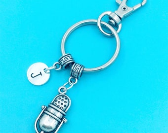 Microphone Keychains, Best Friend Keychains, Vintage Mic keychain, microphone keyrings, Charm Keychain, Initial Keychain, retro microphone