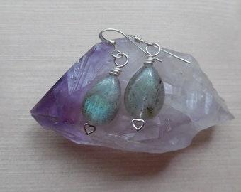 Sterling Silver Labradorite Earrings, Labradorite Teardrop Earrings, Crystal Gemstone Earrings, Blue Green Labradorite, Bohemian Jewelry