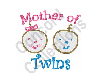Mother Of Twins - Machine Embroidery Design, Twins, Babies, Mother