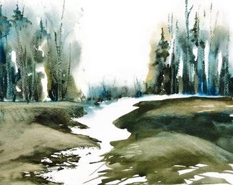 Nature Art, Fine Art Giclee Print Landscape Watercolor Painting, Lake Print, Green Wall Art, Green Painting,Teal Wall Decor Watercolor Print