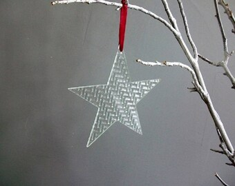 glass stars with ornament (set of 3 pieces)
