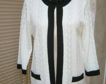 Vintage black white pointelle cardigan sweater, lightweight cottony acrylic white black summer sweater, top button black white cardigan top