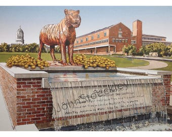 University of Missouri Tigers LIMITED EDITION Pen and Ink and Watercolor Mizzou Art Print Illustration - Graduation Gift, university