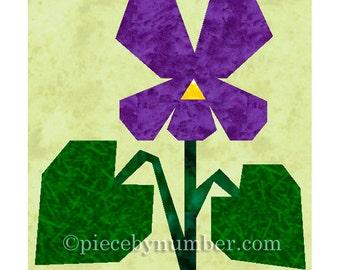 Violet flower quilt block, paper pieced quilt patterns instant download PDF patterns, flower quilt patterns, flower patterns, violet pattern