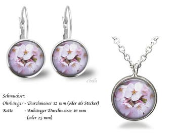Jewelry Necklace and earrings-cherry blossoms-6