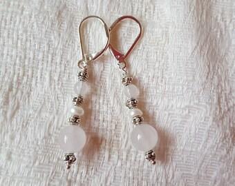Rose Quartz and Freshwater Pearl Earrings