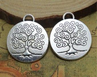 6pcs-Life Tree Charms  silver Tone Life Tree Pendants Charms Wish Tree 24mm ASD0106