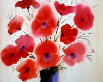 Beauty of Poppies Flower -Original Handpainted Watercolor Painting