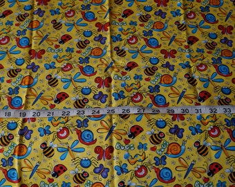 Happy Silly Smile Face Bugs on Bright Yellow Fabric - 18 inch