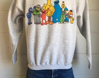 Sesame Street Sweatshirt 90s Vintage PBS Television Big Bird Cookie Monster Sweater Elmo Bert and Ernie Jim Henson Oscar The Grouch Large