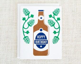 Happy Birthday, Birthday Card For Him, Beer Lover, Birthday Card Funny, Happy Birthday Card, Birthday Card, Beer Card, Hoppy Birthday