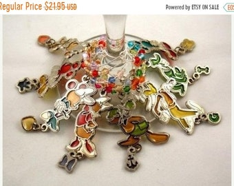 Mickey and Friends inspired wine glass charms set of 8 Disney charms handmade wine charms party Disney wine charms