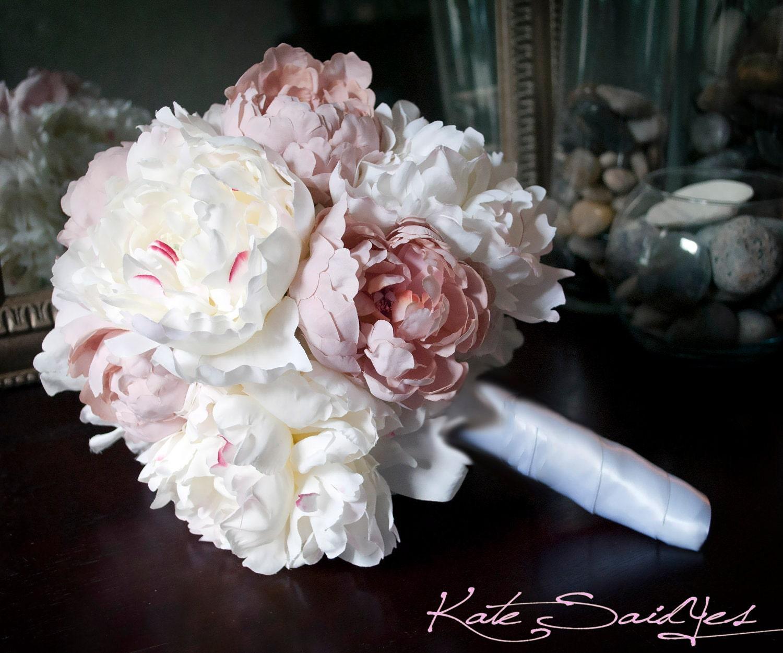 Wedding Bouquet Peony Bouquet Ivory And Blush Pink Peony Silk