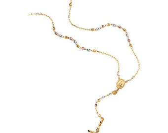 """14K Yellow, White & Rose Tri-Color Rosary 17.5"""" Necklace, Religious jewelry, Catholic Jewelry, Religious Milestones, Lady of Guadalupe"""