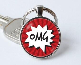 Comic sound key chain Omg keychain OMG key ring OMG jewelry Christmas gift OMG pendant Comic book Comics keychain Comics keyring Exclamation
