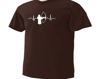 BOW HUNTER HEARTBEAT Pulse Beating Hunt Hunting Sport T-Shirt