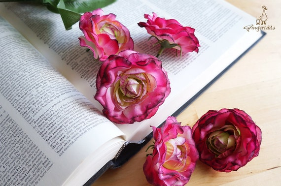 Clearance was usd728 pink and green ranunculus set of five clearance was usd728 pink and green ranunculus set of five silk flower head artificial flower wedding crown bride fb13 1 h from gingertails mightylinksfo