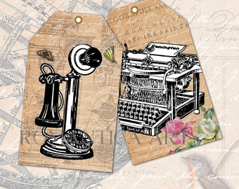 Vintage Printable Tags 10x6cm Office Elements Sepia Black White Instant Download Antique Typewriter Glasses Candlestick Phone Hand Stamp Key