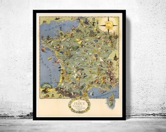 Old Map of France Gastronomy Tourism Poster