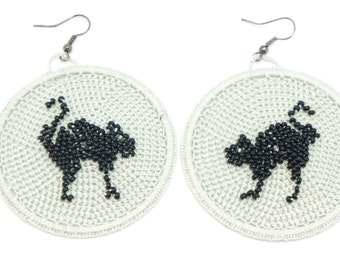 Earrings kittens  crochet beads