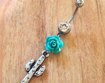 Cactus Belly Ring Cacti Turquoise Rose Belly Ring Southwest Western Naval Cactus Turquoise Saguaro Cactus Naval Cactus Jewelry Cacti Western