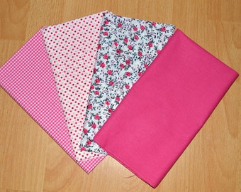Set of 4 Coupons tones fushias, good quality cotton Poplin fabric.