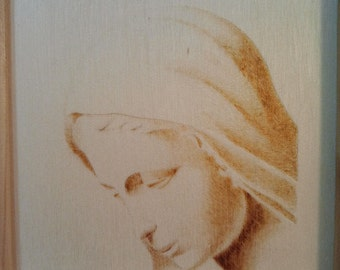 Madonna, Quadro pyrography on wood