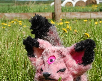 Fantasy ooak poseable third eye hybrid fox creature
