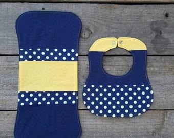 baby bib, bib and burp rag, navy and yellow, baby shower gift, baby boy, burp cloth, patchwork bib and burp cloth, newborn bib, polka dots