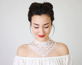Lace Necklace Statement Necklace Bib Necklace Pearl Necklace Bridal Necklace Wedding Necklace Girlfriend Gift For Her Boho/ JUTURNA