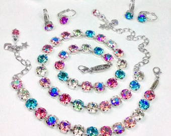 Swarovski Crystal 8.5mm Necklace -  Gorgeous All Shimmering Pastel Shades - Designer Inspired - FREE SHIPPING