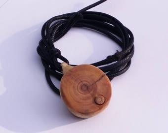 Locket Necklace Pendant - Handcrafted Pine Wood Knot And Birthstone /Tourmaline/Quartz/Amethyst/Moonstone/Blue Apatite/Green Jadeite/ ...