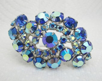 Ice Blue Rhinestone Pin Blue Aurora Borealis Swirl Brooch Wedding Jewelry Something Blue Vintage Jewellery