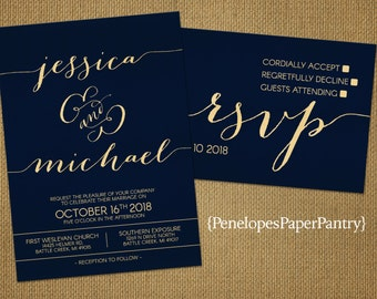 Elegant Navy and Gold Wedding Invitations,Cursive Names,Sophisticated,Modern,Formal,Custom,Printed Invitations,Invitation Sets,Envelopes