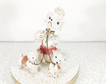 Vintage Ceramic White Poodle Family on Chains - Pink Lace Tutu's - Lipper and Mann Creations - Japan Figurines - Poodles