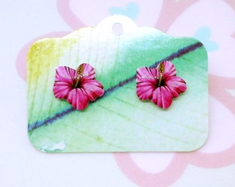Acrylic hibiscus pink flower earrings studs