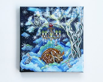 Winter Dream, ORIGINAL Acrylic painting, 20x20 cm on canvas