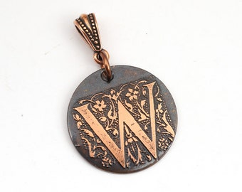 Copper W pendant, round flat metal etched monogram initial, optional necklace, 25mm