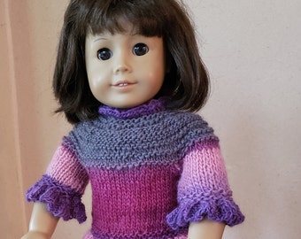 Striped Purple and Pink Ruffled Sweater for 18 Inch Dolls