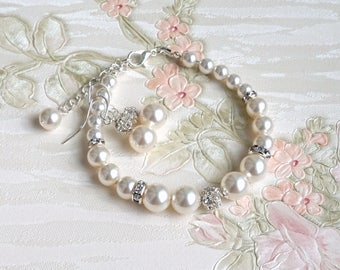 Pearl Bracelet and Earring Set Bridesmaid Gift Bracelet Earrings Set Wedding Jewelry Rhinestone Pearl Bridesmaid Jewelry Bracelet Set B858