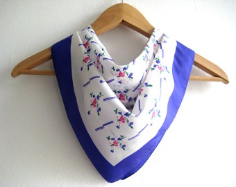 Vintage Scarf Very Pretty Pink Blue Delicate Flowers White Floral Vintage Scarf