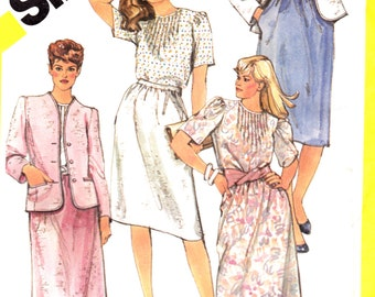 1980s Misses' Skirt Blouse Cardigan Jacket Simplicity 5854 Womens Vintage Sewing Pattern Bust 48""