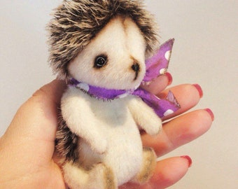 Mini Hedgehog Hedgie Mohair Ooak Toy Plush Stuffed Animal Collection by Natalia Pinigina